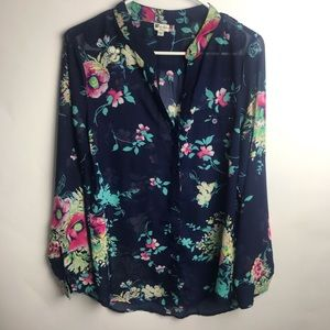 KUT from the knoth M Top shirt sheer floral blue